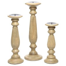 3 Piece Candlestick Holder Set in Tan
