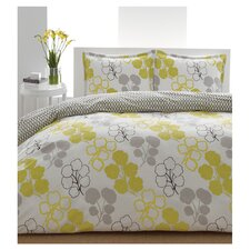 Pressed Reversible Flower Comforter Set in Yellow