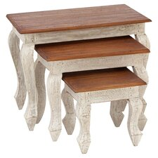 3 Piece Nesting Table Set in White & Cherry
