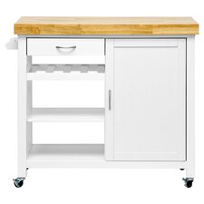 Denver Wood Top Kitchen Cart in White