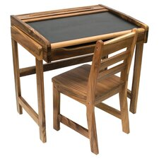 Chalkboard Desk & Chair Set in Pecan