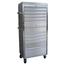 10 Drawer Chest & Roller Cabinet in Silver