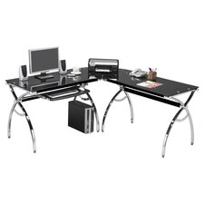 L-Shaped Computer Desk in Chrome & Black