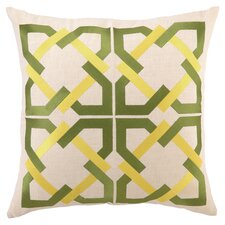 Geometric Tile Linen Throw Pillow in Green & Yellow