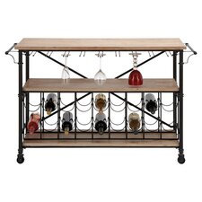 Bar on Wheels 18 Bottle Wine Rack in Brown