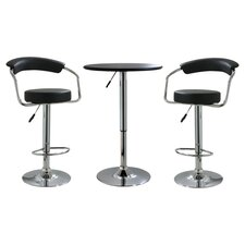 AmeriHome 3 Piece Pub Table Set in Steel & Black