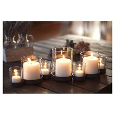 7 Piece Glass Candle Holder Set in Brown
