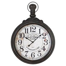Pocket Watch Wall Clock in Distressed Black