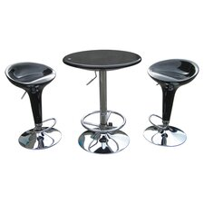 Luna Adjustable 3 Piece Pub Set in Black