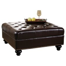 Soho Leather Cocktail Ottoman in Dark Brown
