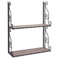 Metal & Wood Wall Shelf in Antique Black