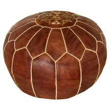 Moroccan Leather Pouf Ottoman in Brown