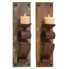 Jay 2 Piece Wood Candle Sconce Set in Brown