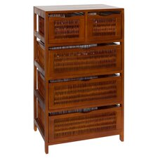 5 Drawer Storage Chest in Chestnut