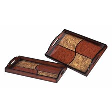 2 Piece Quartered Tray Set in Brown