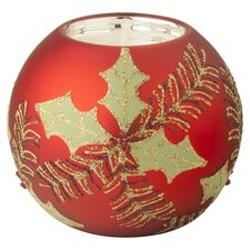 Holly & Pine Tealight Holder in Red