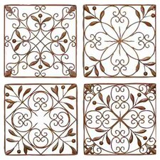 Toscana 4 Piece Metal Wall Décor Set in Brown