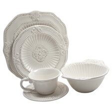 Baroque 20 Piece Dinnerware Set in Antique White