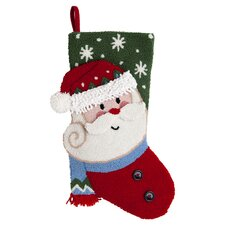 3D Santa Hooked Stocking in Red