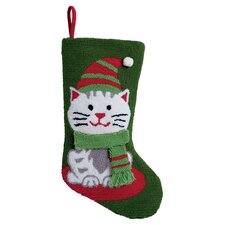 3D Cat Hooked Stocking in Green