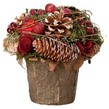 Rose & Pinecone Holiday Accent in Brown