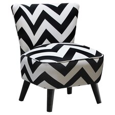 Mid Century Slipper Chair in Black & White