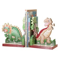 Dinosaur Kingdom Children's Bookends in Green