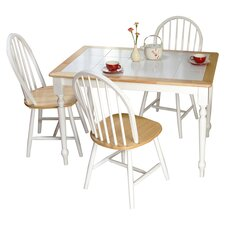 Tara 5 Piece Dining Set in White & Natural