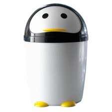 Penguin Waste Basket in White