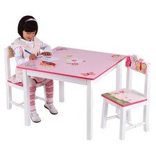 Butterfly Buddies Kids 3 Piece Table & Chair Set in Pink