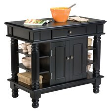 Linderman Wood Top Kitchen Island in Black