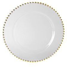 Belmont Gold Charger Plate in White