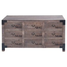 Numbered 9 Drawer Chest in Natural Teak