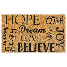 Hope Dream Believe Doormat in Black & Tan