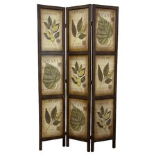 Botanic Printed 3 Panel Room Divider in Dark Brown