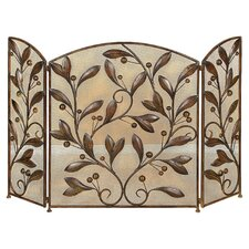 Leaves 3 Panel Metal Fireplace Screen in Brown