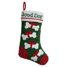 Good Dog Hooked Stocking in Green