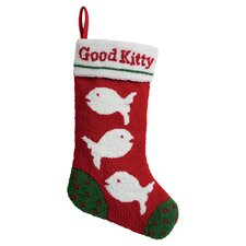 Good Kitty Hooked Stocking in Red