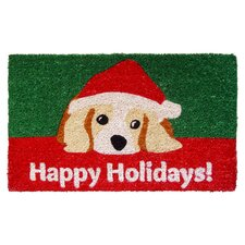 Handmade Dog Lovers Holiday Doormat in Green & Red