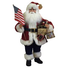 Crakewood Vintage Patriotic Santa Claus Figurine in Red