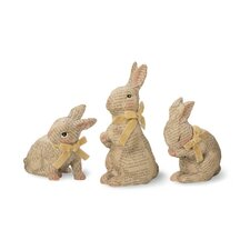 3 Piece Decoupage Bunny Statue Set