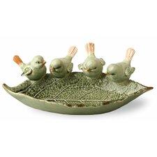 Ceramic Leaf Decorative Bird Feeder