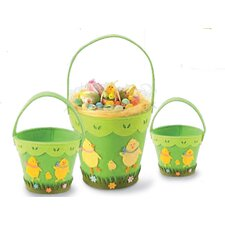 <strong>October Hill</strong> 3 Piece Chick Felt Pail Basket Set