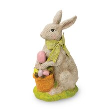 Decoupage Bunny Figurine with Egg Basket