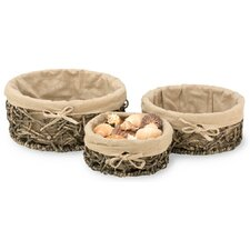 3 Piece Cloth Lined Natural Basket Set