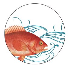"Fish 4"" Melamine Wine Glass TidBit Topper Plate (Set of 4)"