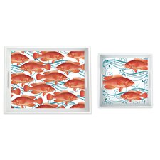 2 Piece Fish 100% Pure Melamine Serving Tray Set