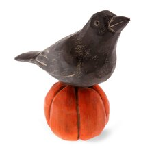 Halloween Accent Raven on Pumpkin Looking Up Figurine