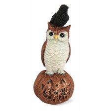 Halloween Accent Owl and Raven on Pumpkin Figurine