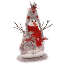 "12"" Tall Red Felt and Paper Birch Snowman Holiday Accent"